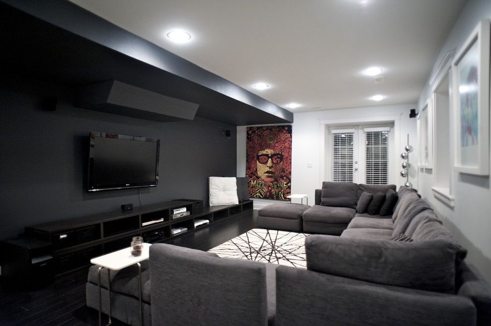 gorgeous modular sectional sofa in home theater contemporary with tv