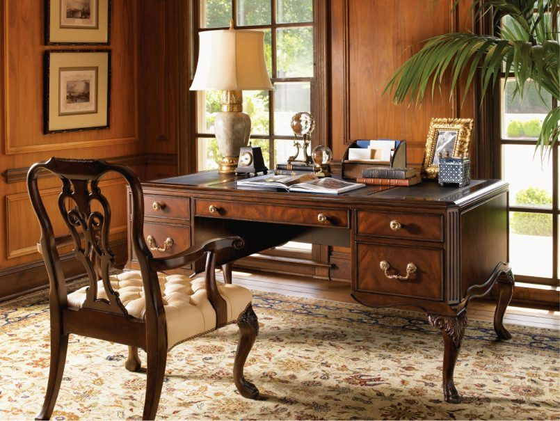 Office Carving On Solid Maple Desk And Classic Wooden Armchair On Traditional Brown Carpet Facing W Stylish Office Decor Home Office Decor Vintage Home Offices