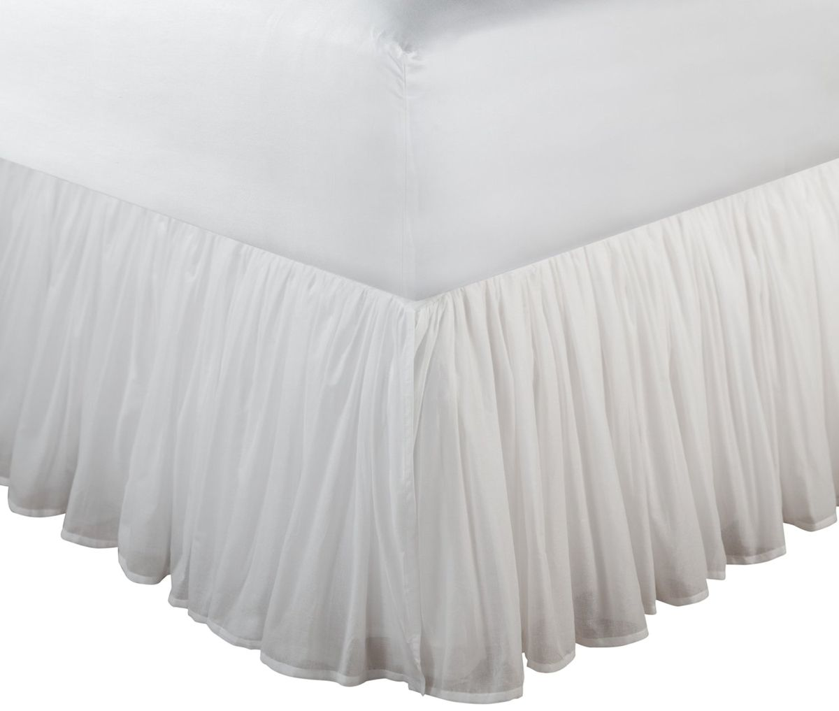 White Sheer Cotton Voile Ruffled Bed Skirt Dust Ruffle 15 Or 18 Drop Twin Full Queen King White Bed Skirt Greenland Home Fashions Bedskirt Ruffled bed skirt queen