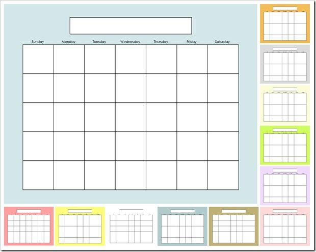 Blank Calendar - SOLIDS- Make your own dry-erase calendar Blow up - perpetual calendar template