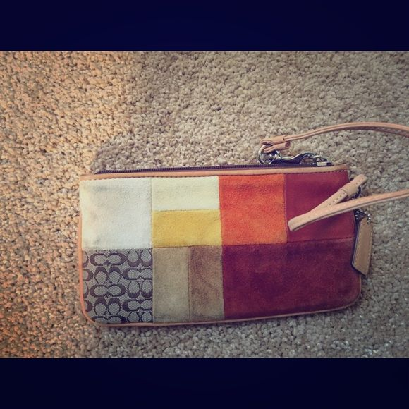 Coach patchwork wristlet Lightly used and in good condition! Coach Bags Clutches & Wristlets