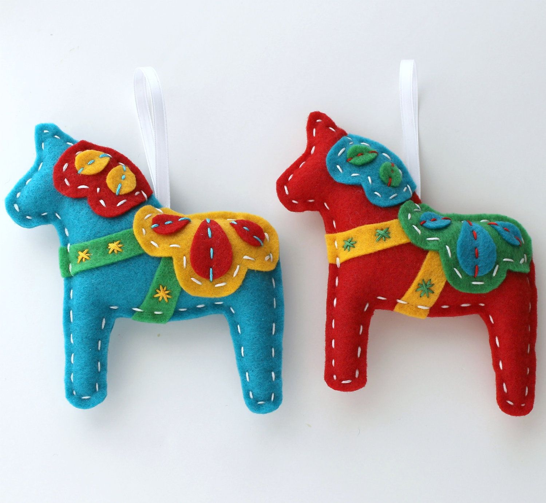 Dala horse felt ornaments plush set of 2 teal red for Scandinavian christmas craft ideas