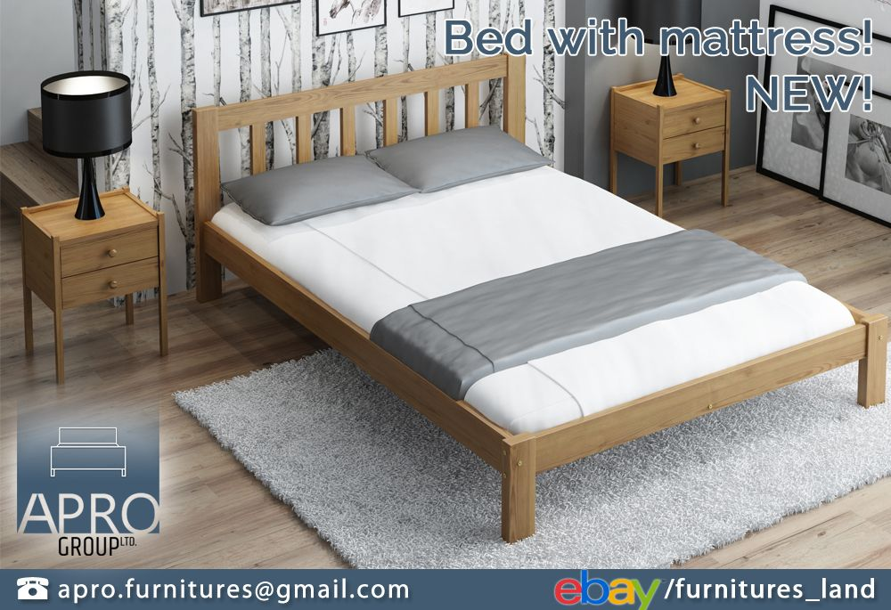 Details About Wooden Pine Oak Wood Bed Frame With Foam Mattress