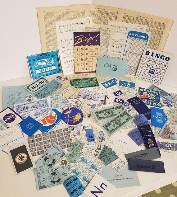 75 pieces of blue ephemera Vintage paper supplies color lot sample