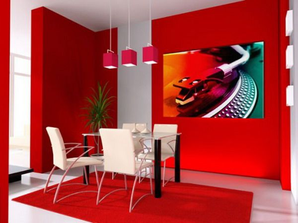 Decorating Contemporary Small Dining Room Using Two Colors Combination Of Wall Painting With White Leather
