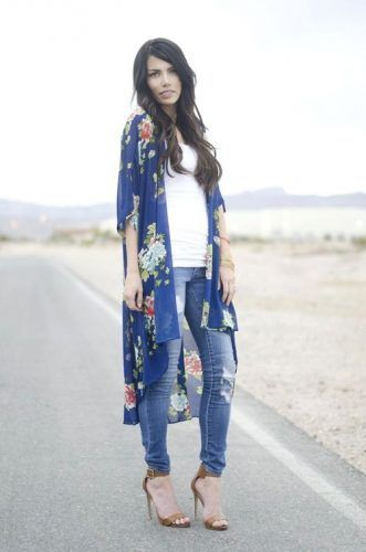 long blue floral kimono outfit- How to style your kimono cardigan ...