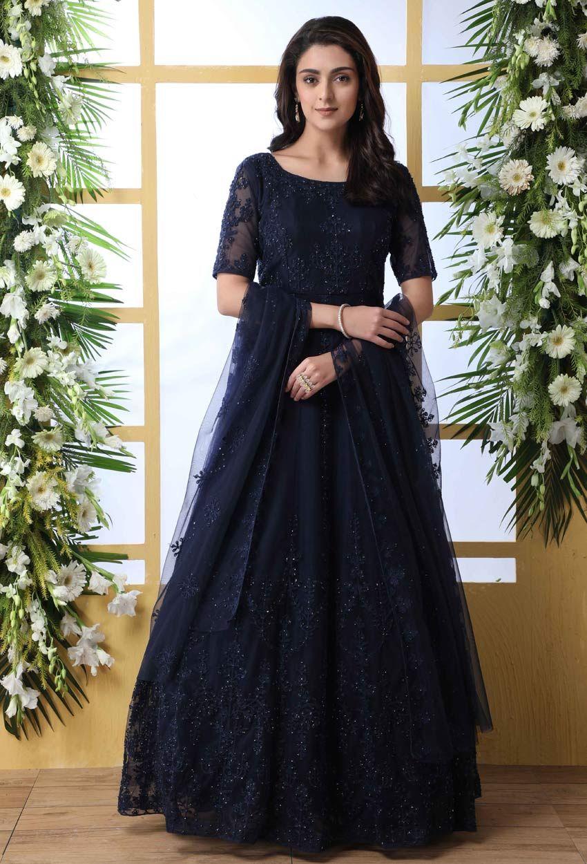 Details about  /Women Designer Frok Style Kurta Kurti Flared Anarkali Kurta Bollywood Style Gown