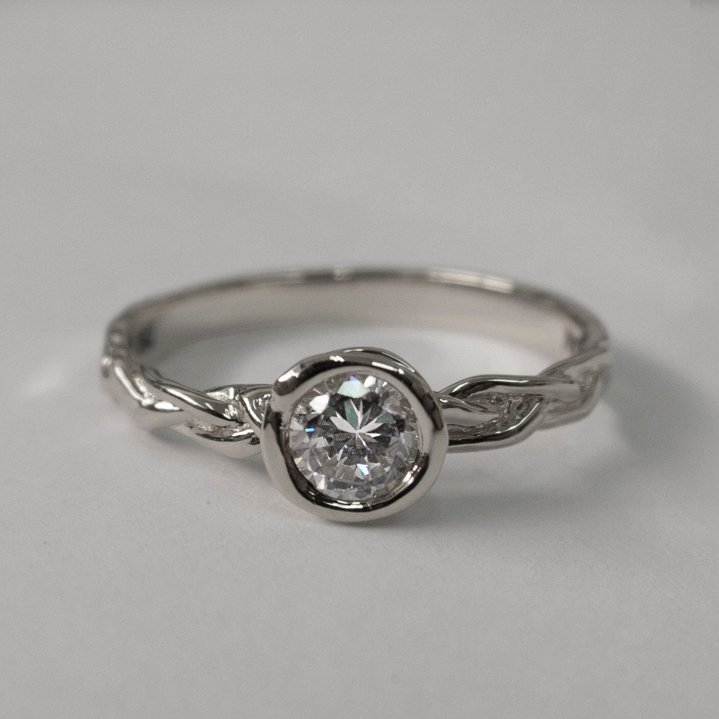 Braided Engagement Ring, Platinum Engagement Ring