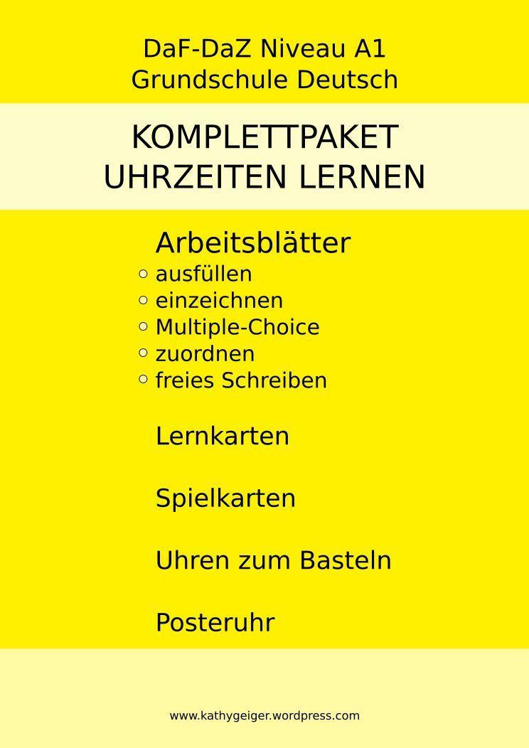 Sparpaket Uhrzeit lernen DaF-DaZ Niveau A1 und Grundschule – DaZ ...