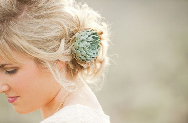 Wedding hairstyle with succulent plant | UBetts Rental & Design