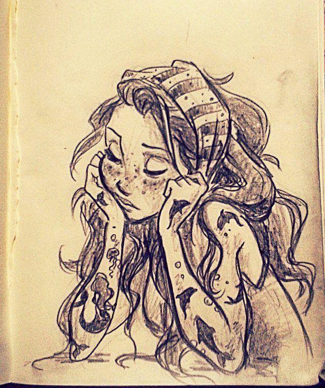 Hippie girls of drawings
