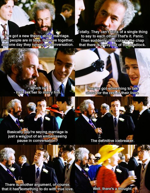 Hugh Grant John Hannah And Simon Callow In Four Weddings And A Funeral 1994 Movie Quotes Funny Romance Movies Funny Movies