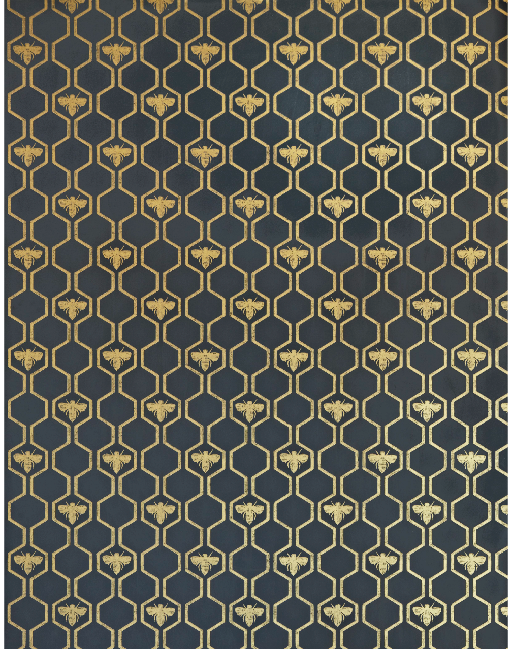 Honey Bees, Gold on Charcoal Wallpaper stencil