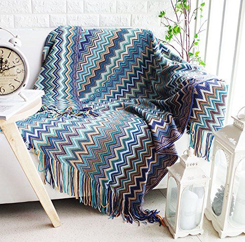 Bohemian Style Sofa Throws Warm Thick Armchair Cover Soft ...