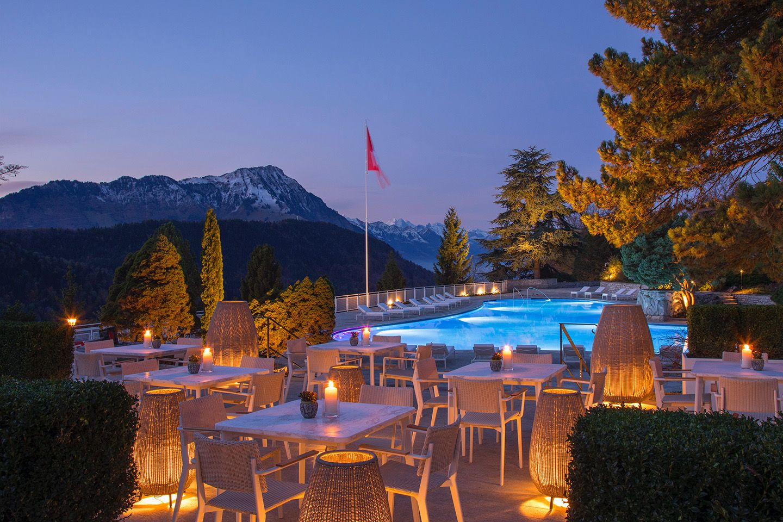 Buergenstock Alpine Spa historic outdoor pool