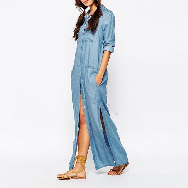 Long Sleeve Ankle-Length Denim Dress | Long denim dress, Maxi ...