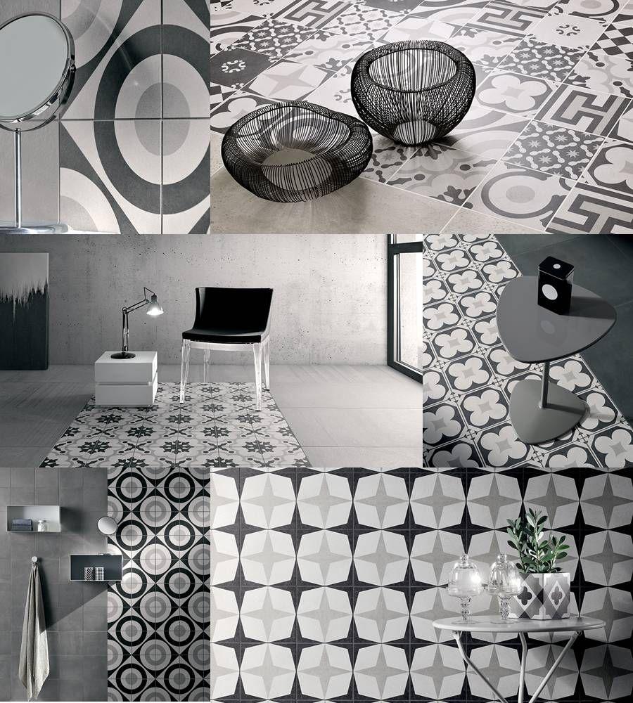 Revestimiento y pavimento porcelanico ceramica fioranese serie cementine black white tono - Mosaico pavimento bagno ...