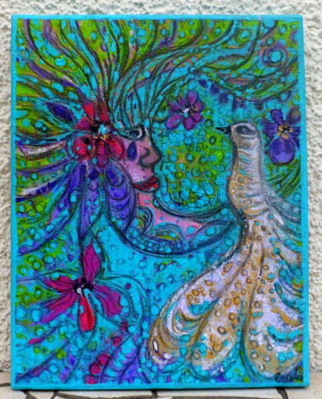 Acrylique sur toile peinture moderne envole d 39 oiseaux dans for Toile tendue jardin