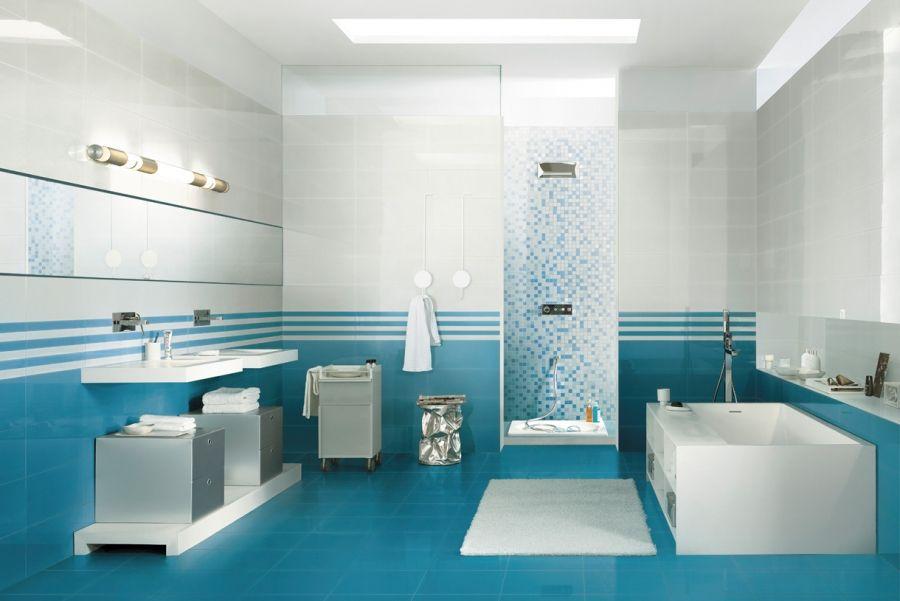 6 surprenantes d corations salle de bain bleu et blanc for Idee deco ...