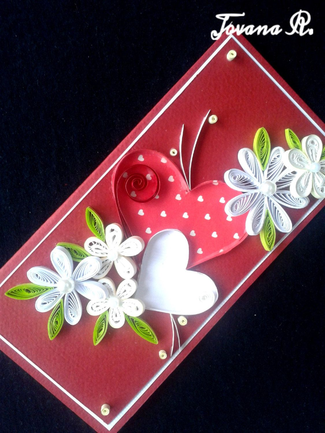Valentine quilling card quilling cards greeting cards handmade