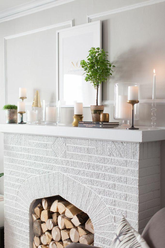 lareira + plantas + vidros + velas