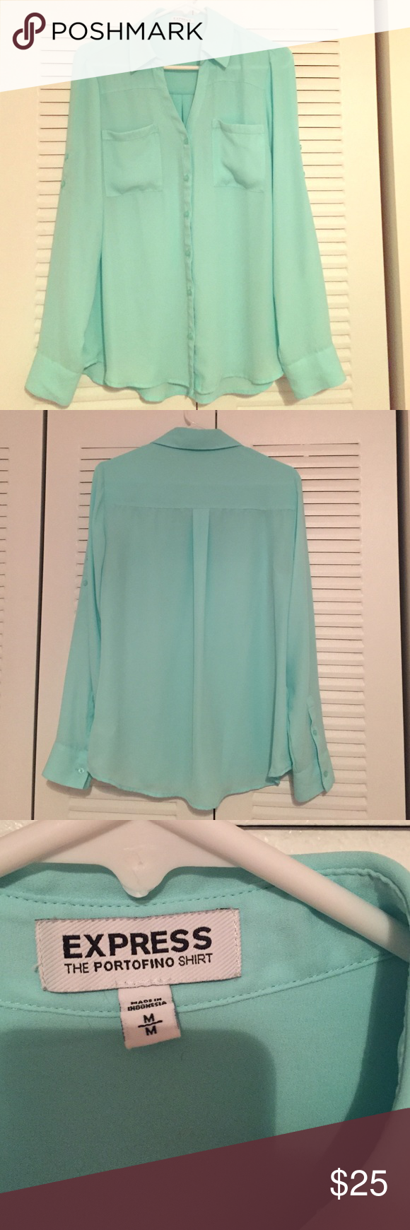 Express Portofino Shirt Teal Express Portofino Shirt Size Medium Express Tops Button Down Shirts