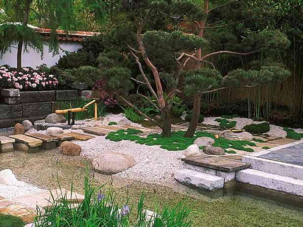 Hiroshi Nanamori created this serene Japanese design for the 1996 RHS Chelsea Flower Show. This Asian garden is still as lovely today as it was in 1996 with its stone elements and bonsai-like tree.