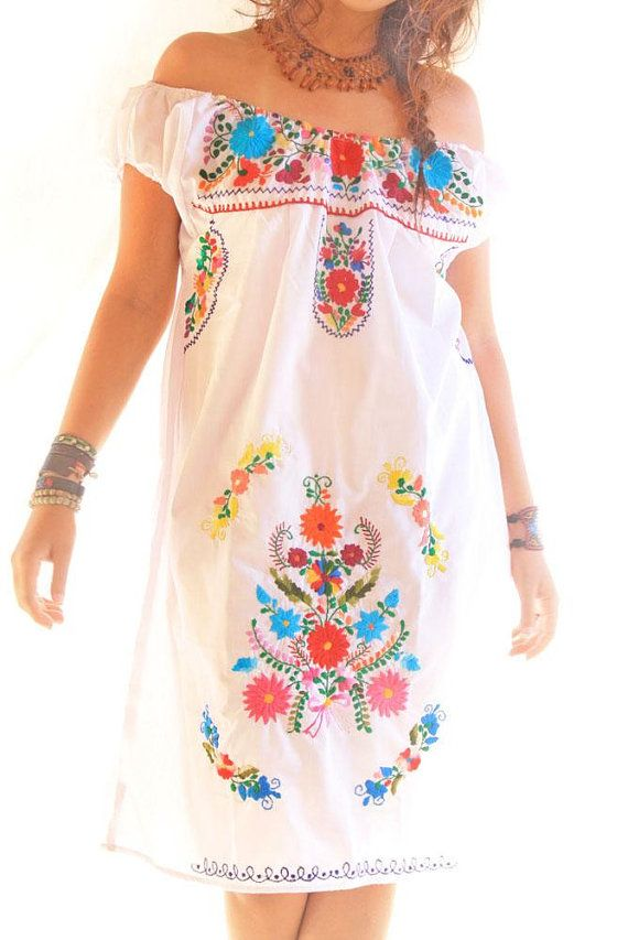 Nubes Colorful Off Shoulder Mexican Embroidered Dress From Aidacoronado On Etsy