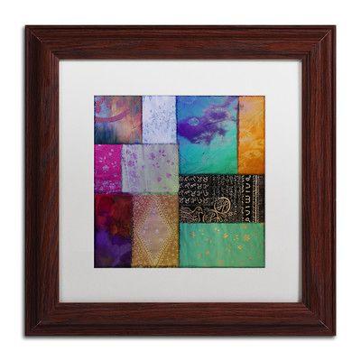 "Trademark Art 'Afrikan Batik I' Framed Graphic Art Size: 11"" H x 11"" W x 0.5"" D, Mat Color: White"
