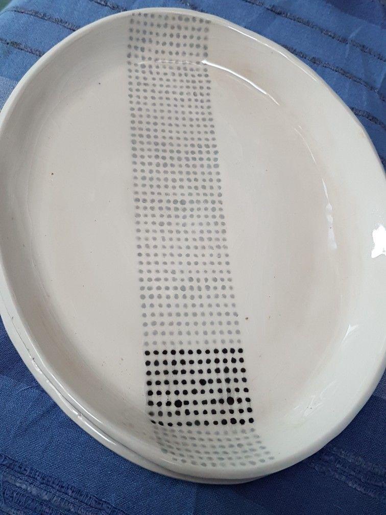 Slip cast oval platter in white #stoneware with #underglaze dot