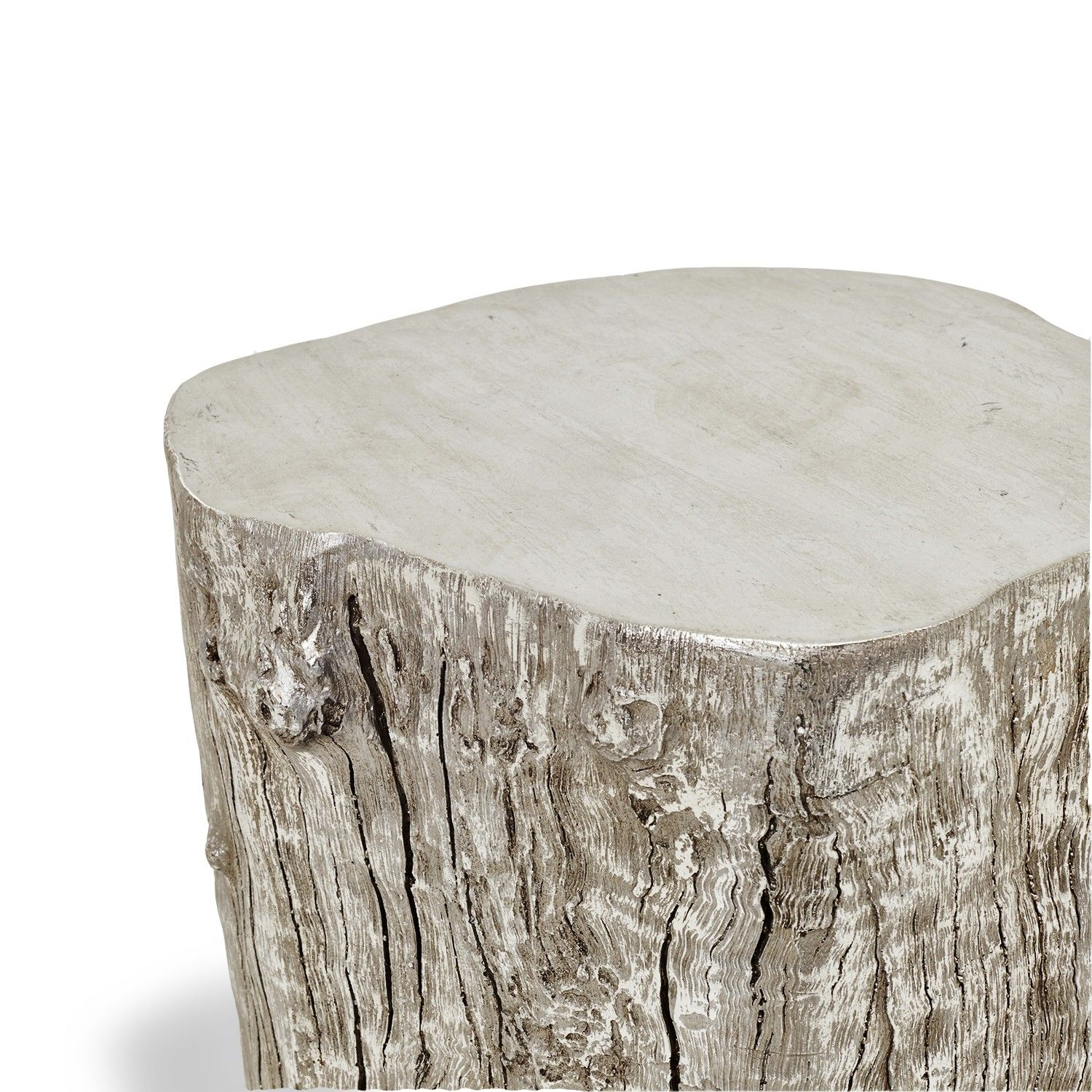 Exclusively at ABC, the Origin stool features natural forms with an edge. Made from resin that has been cast from a naturally fallen tree trunk, this rustic yet contemporary piece is finished in delicate silver leaf and doubles as a chic side table.