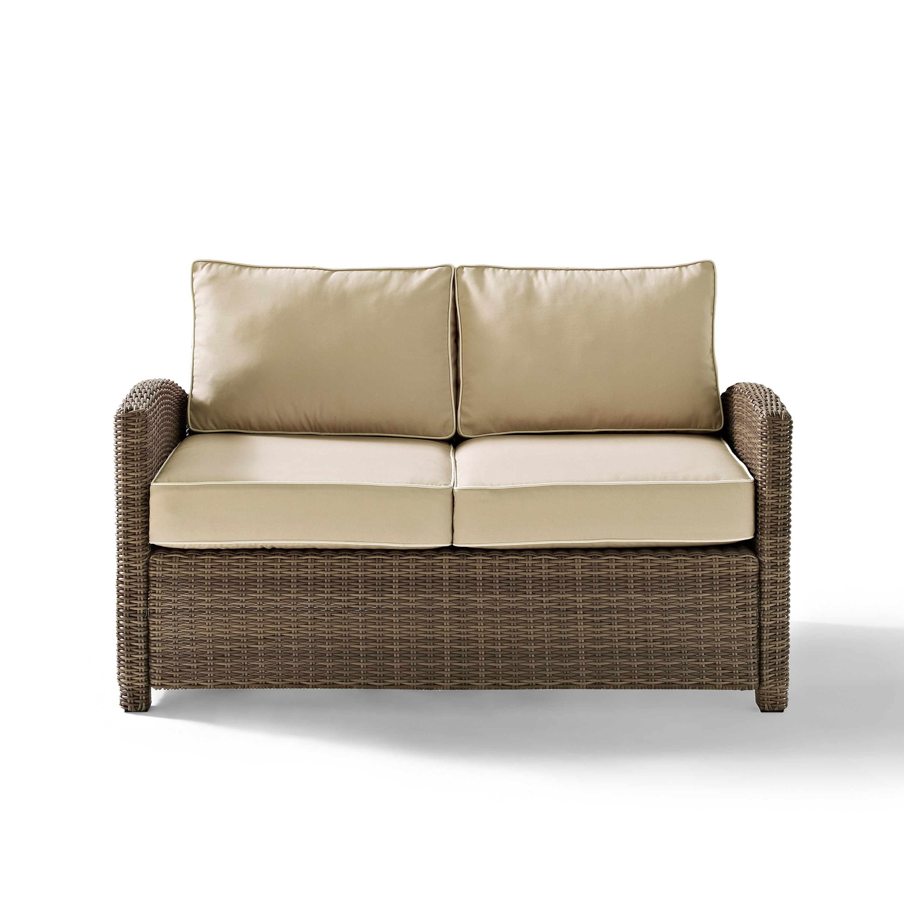 Bradenton Outdoor Wicker Loveseat With Sand Cushions By Crosley Furniture