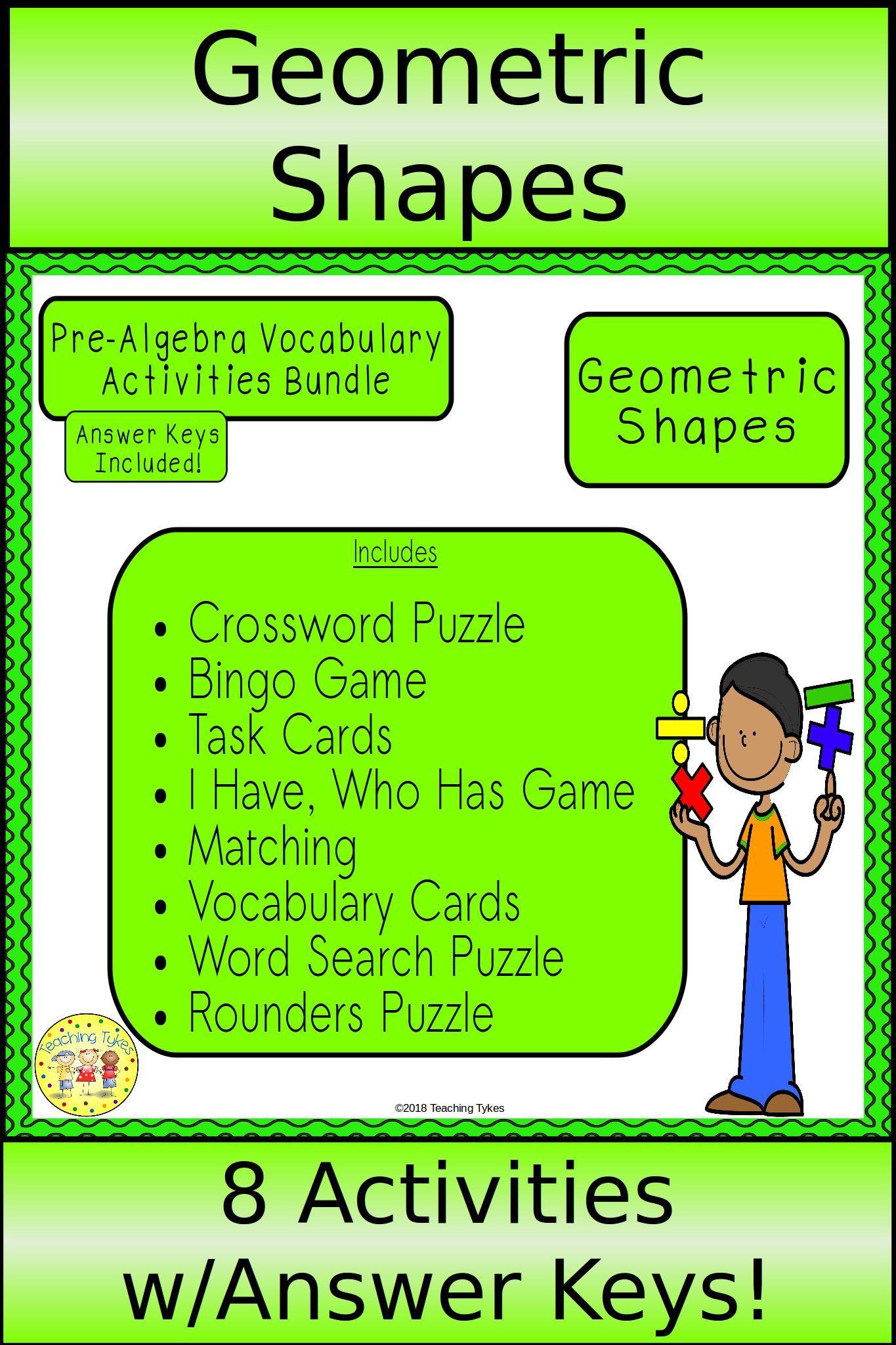 Geometric Shapes Pre Algebra Bundle