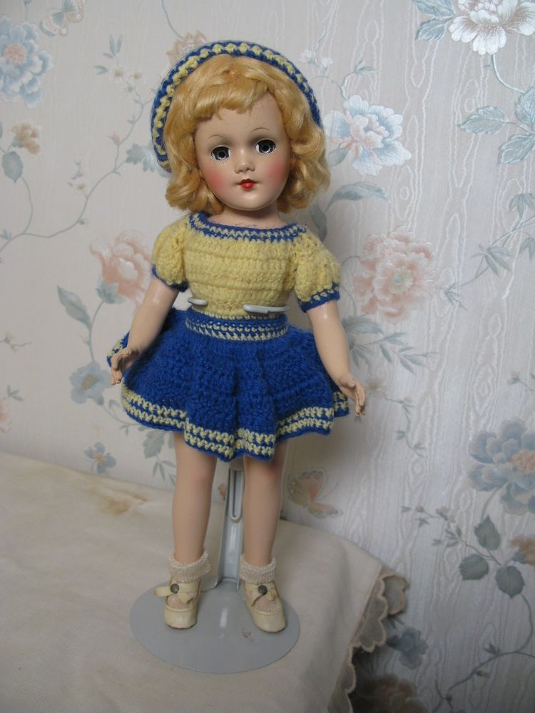 """14"""" HARD PLASTIC MARY HOYER DOLL WITH KNIT OUTFIT EXCELLENT CONDITION"""