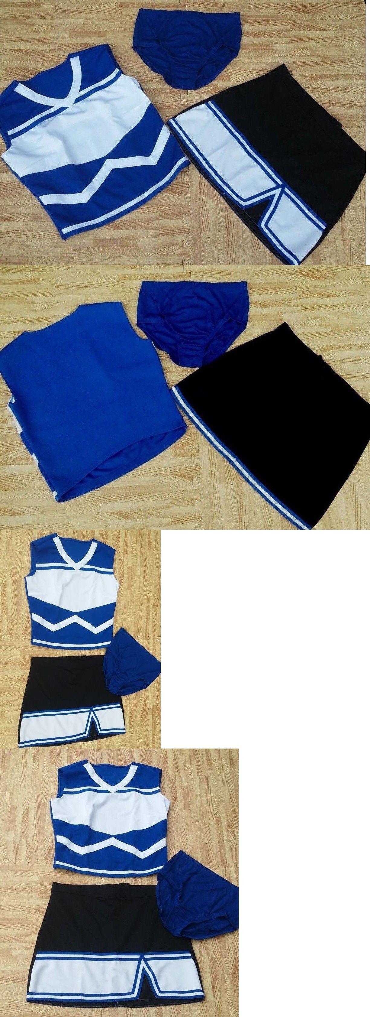 fbc23586aa9 Cheerleading 66832  Real Royal Blue Black Cheerleader Uniform M Top L Skirt  Briefs 35-