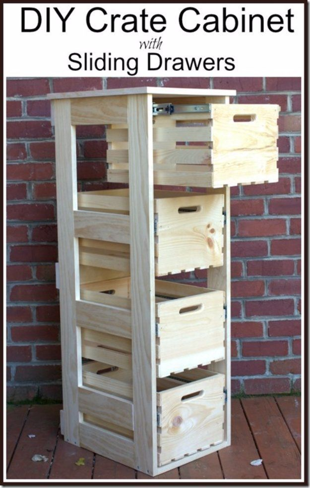 30 awesome diy storage ideas pinterest fruteros palets y diy storage ideas diy crate cabinet with sliding drawers home decor and organizing projects for the bedroom bathroom living room panty and storage solutioingenieria Images