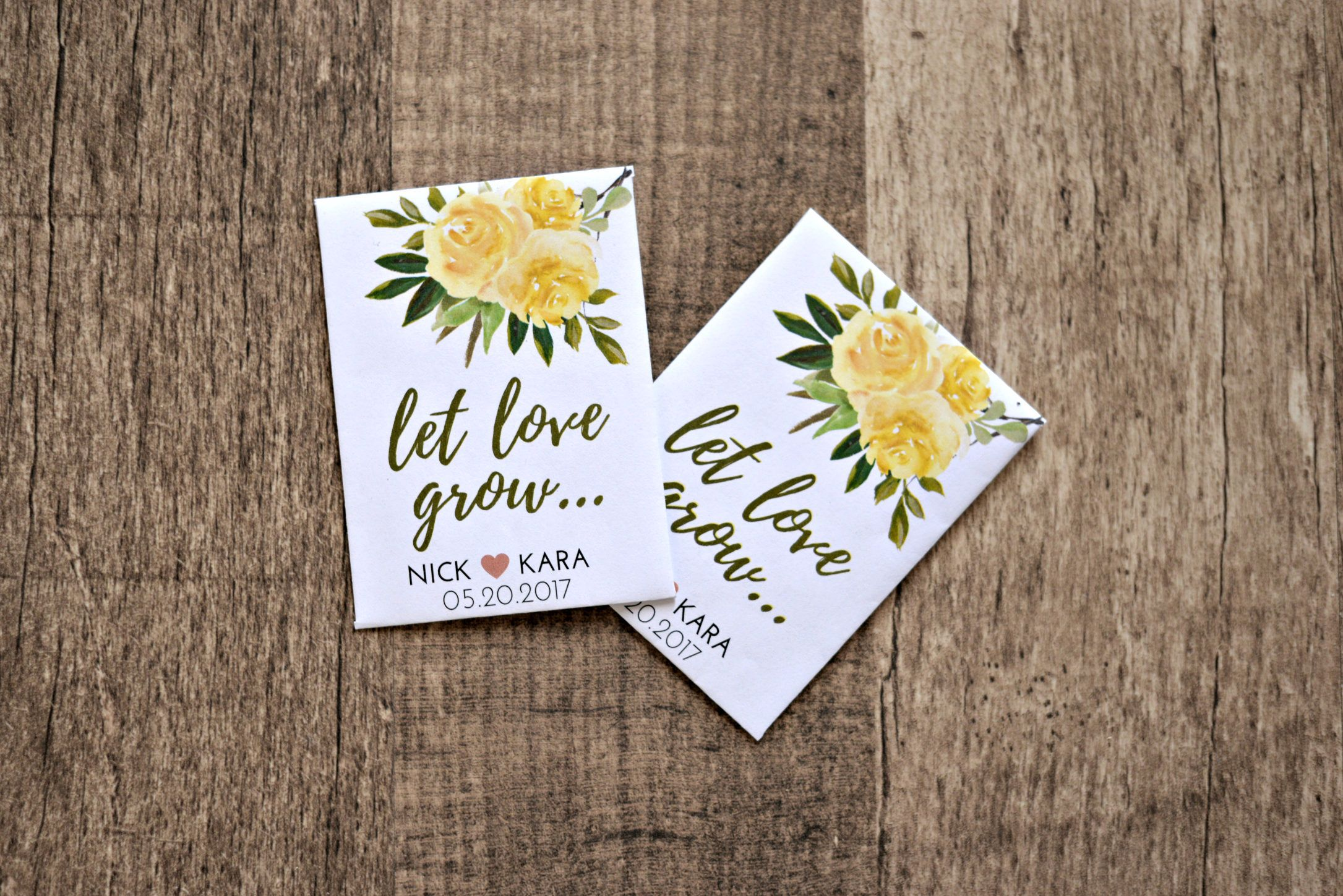 Yellow Rose Let Love Grow Custom Seed Wedding