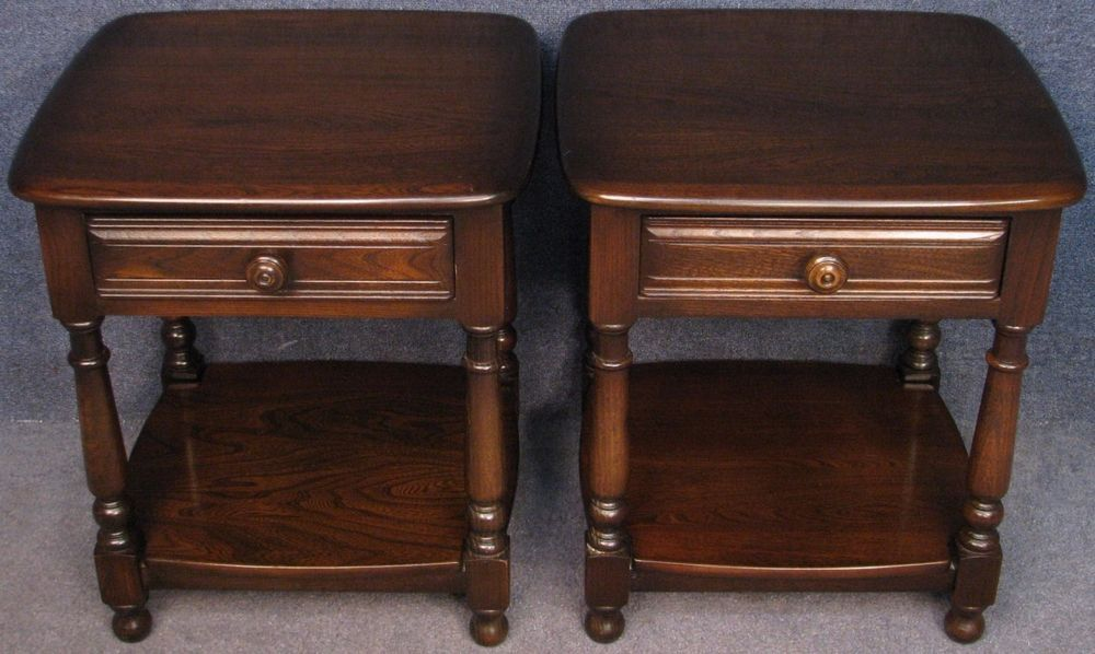 Pair of ercol elm old colonial 792 occasional side bedside pair of ercol elm old colonial 792 occasional side bedside lamp tables aloadofball Image collections