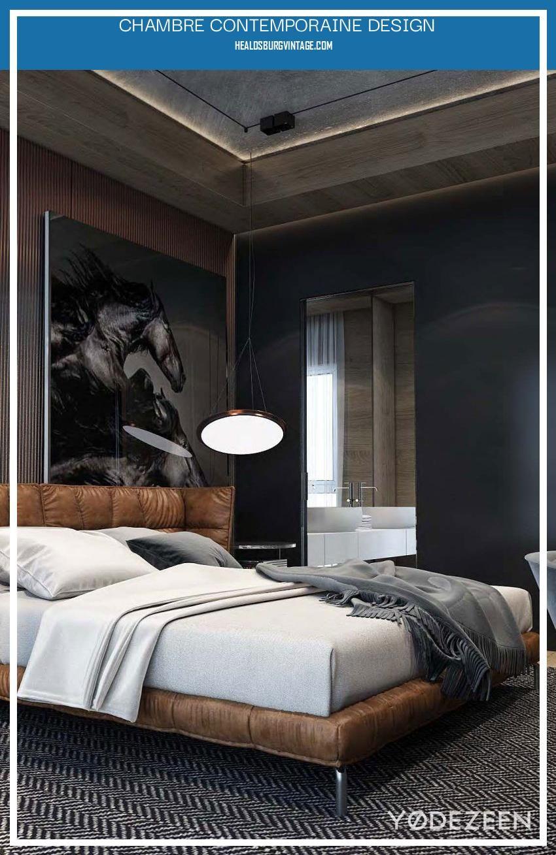 Chambre Contemporaine Design in 2020   Masculine bedroom, Masculine bedroom  decor, Stylish bedroom
