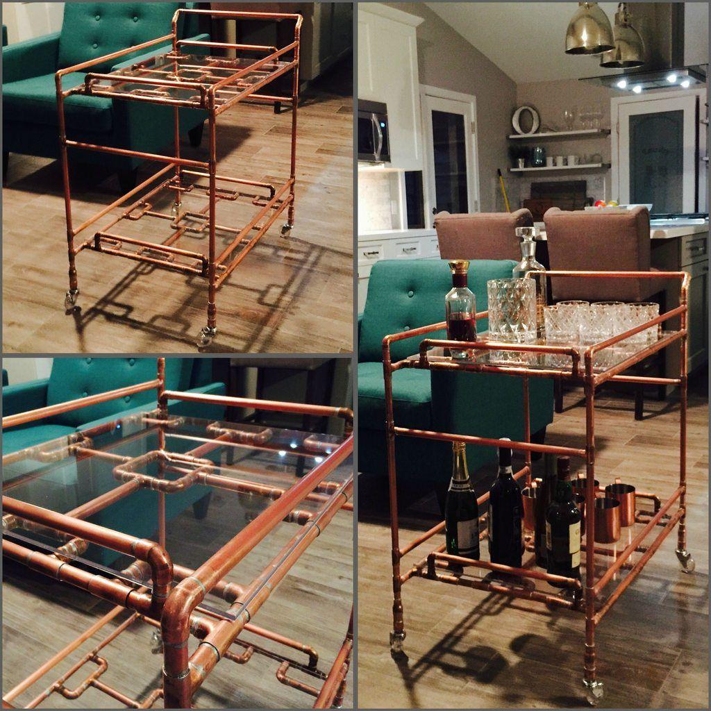 DIY Copper Pipe Bar Cart | Bar carts, Pipes and Bar