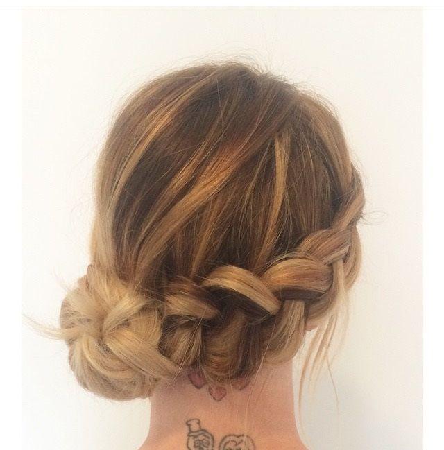Braid with a low side knot bun. #WeddingHairMediumLength #lowsidebuns