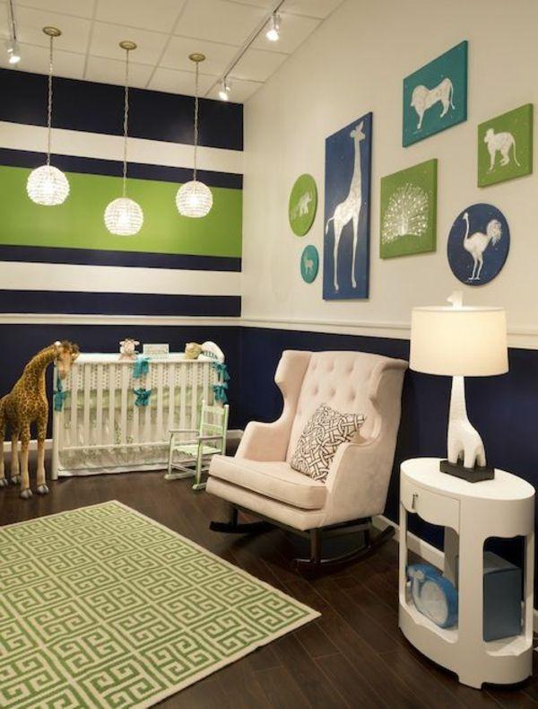 Babyzimmer Gestalten Weisse Tierenbilder Grun Blau