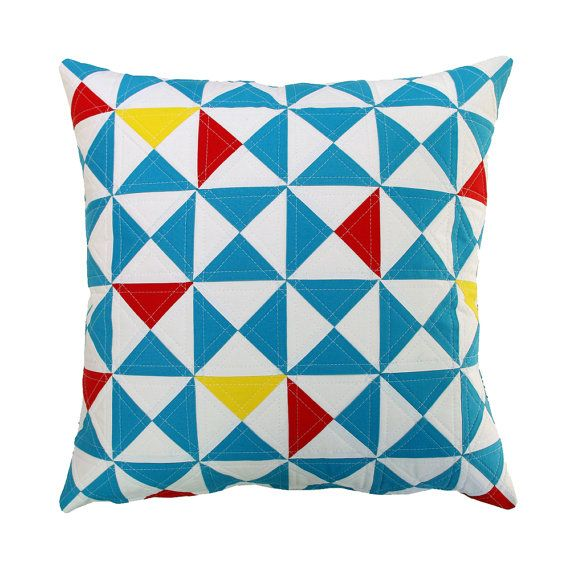 Modern and Colorful Patchwork Pillow Cover by redpepperquilts, $69.00