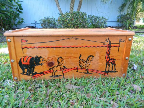 Vintage Wood Toy Box 1950s Circus Theme Rare Wood Toy Box Clown Toybox Wood Toy Box Toy Boxes Vintage Wood