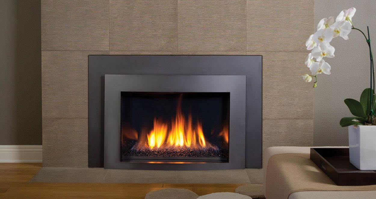 Modern wood burning insert for Contemporary fireplace insert