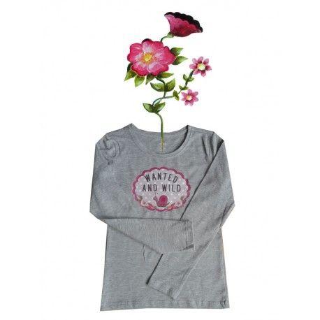 T-shirtje grijs lange mouw en grappige eigenwijze print. Maat 122/128.
