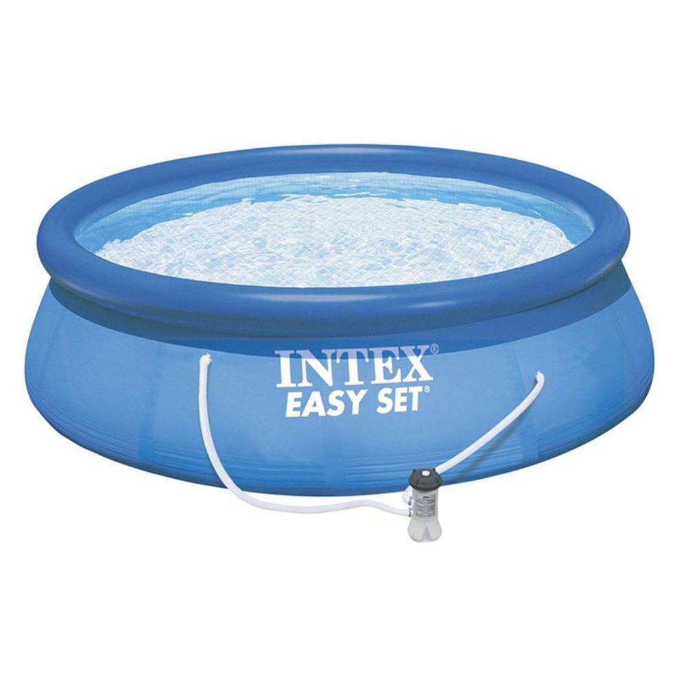 Inflatable outdoor above ground swimming pool with filter