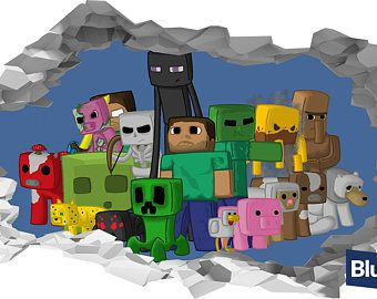 Minecraft Characters 3D Hole In The Wall Sticker Art Decal Mural Part 93