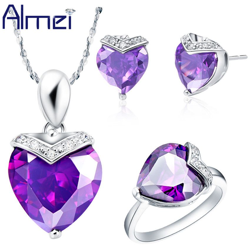 Find More Jewelry Sets Information about Almei Ruby Jewelry Sets 925 Sterling Silver Ornamentation Necklace Women Earrings Ring Fashion Summer for Wedding Purple T146,High Quality earrings ruby,China earring clasp Suppliers, Cheap earring jacket from ULove Fashion Jewelry Store on Aliexpress.com