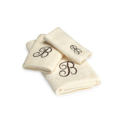 Avanti Premier Brown Script Monogram Bath Towel Collection In